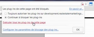 Blocage du plugin par le navigateur Chrome